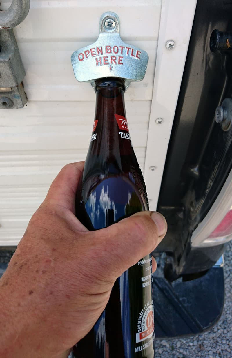 Beer opener on camper