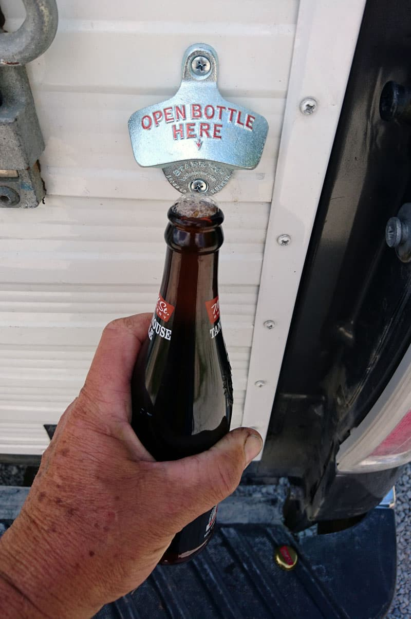 Beer opener on truck camper