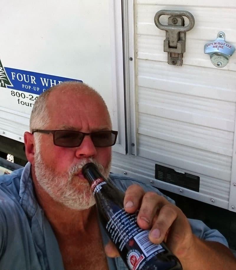 Enjoying a beer