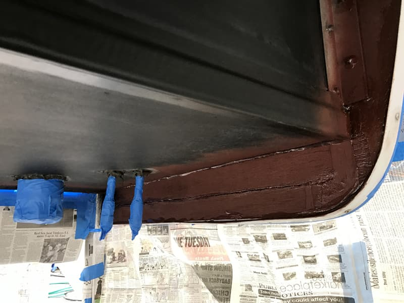 Before rubber spray wood, blue painters tape