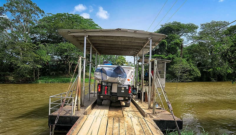 Hand crank ferry in Belize