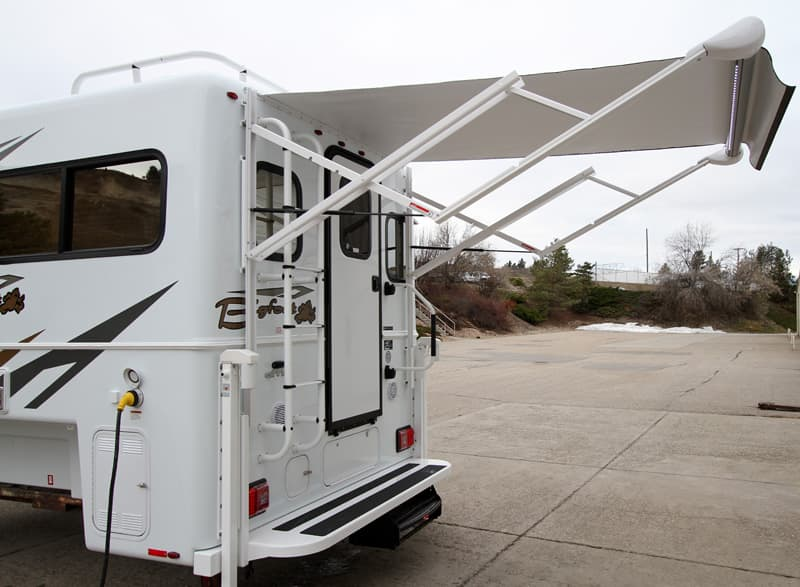 Electric Rear Awnings are standard in the Bigfoot 2500 series campers