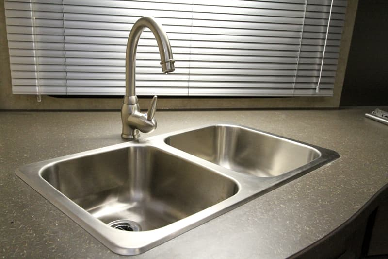 Bigfoot Camper Double Sink With Designer High Rise Faucet