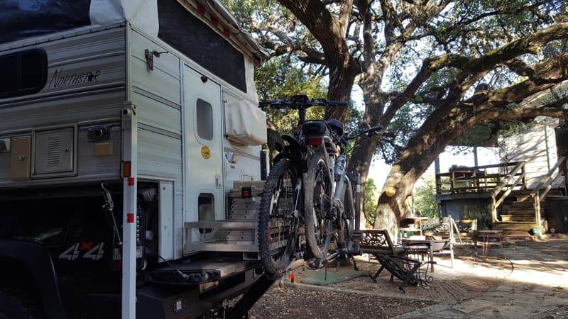 Bike Carrier with bikes and Northstar camper