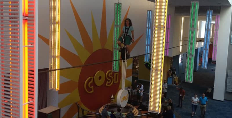 COSI museum high wire unicycle