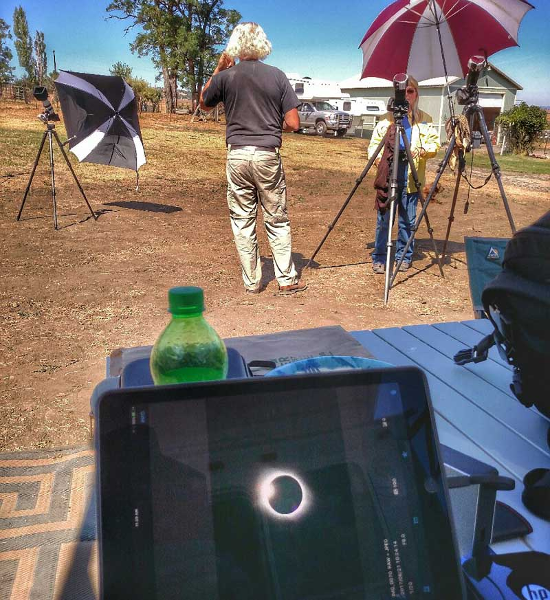 Cameras set up for the eclipse