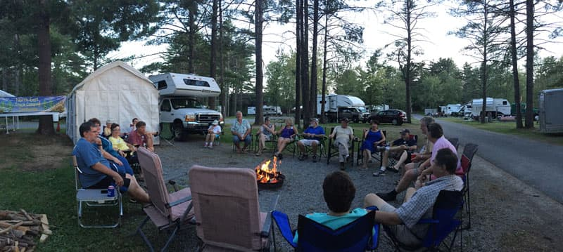 Campfire at Lake George Escape Campground
