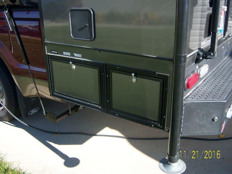 Close up of exterior storage on CampLite camper