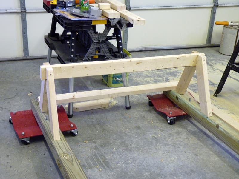 Car skates with saw horse support