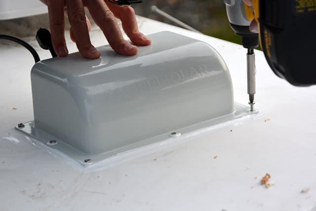 Installing a solar panel on a camper solar panel install junction box caulk 3 sciox Gallery