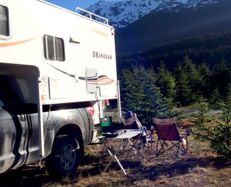 Lee Valleys store table with Okanagan camper