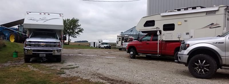 Campers on Gravel Driveway