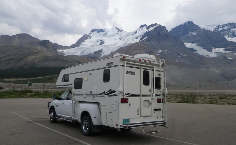 Parked next to a glacier in Canada