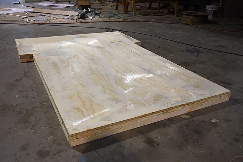 Glue Floor Setting on Capri Camper