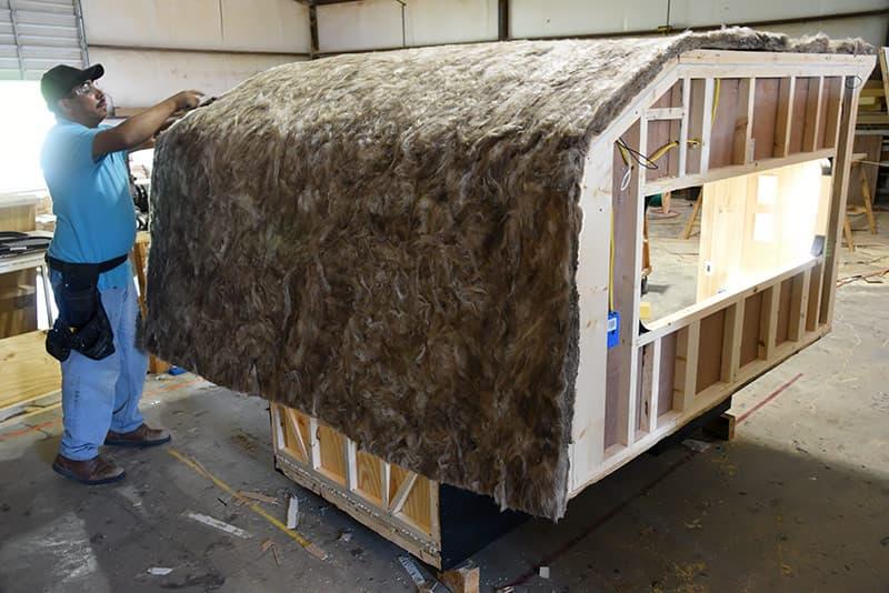 Fiberglass insulation on roof
