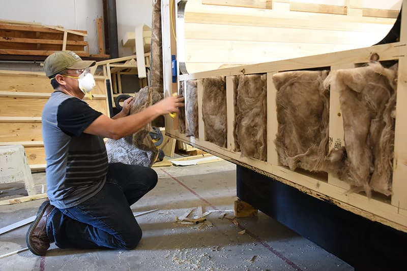 Sidewall insulation installed on Capri Camper