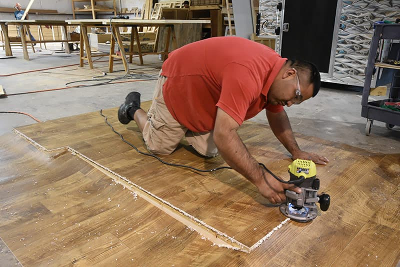 Routing the Linoleum on the Floor