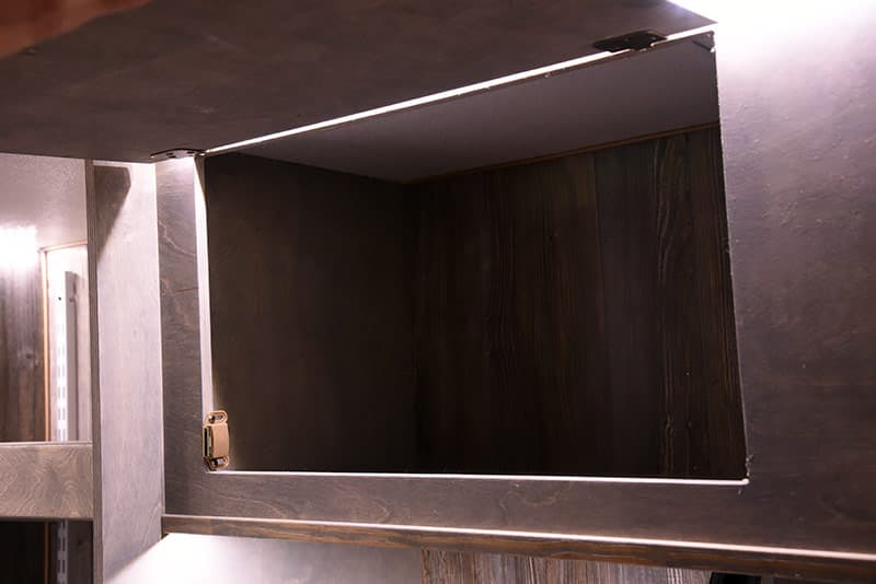 Capri Camper upper kitchen storage