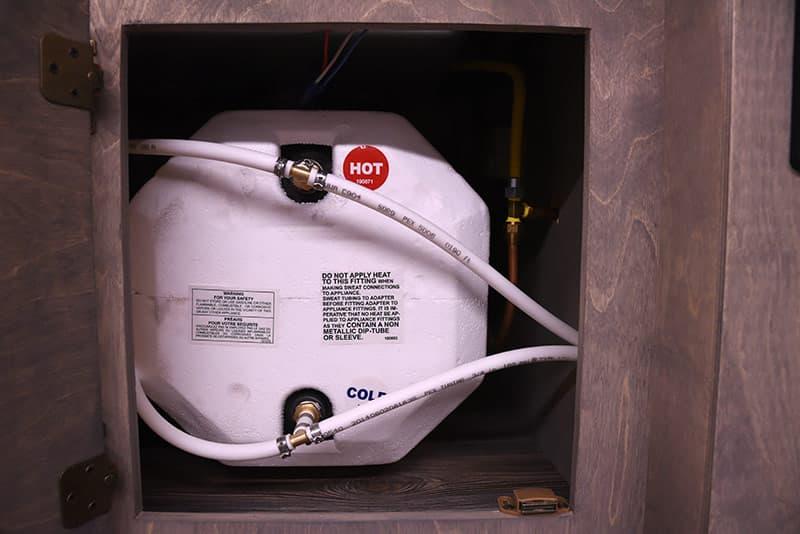 Capri Camper water heater under countertop