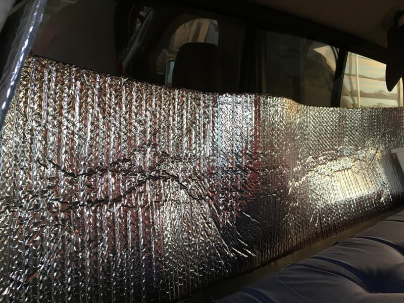Insulation in the truck window to keep road noise down