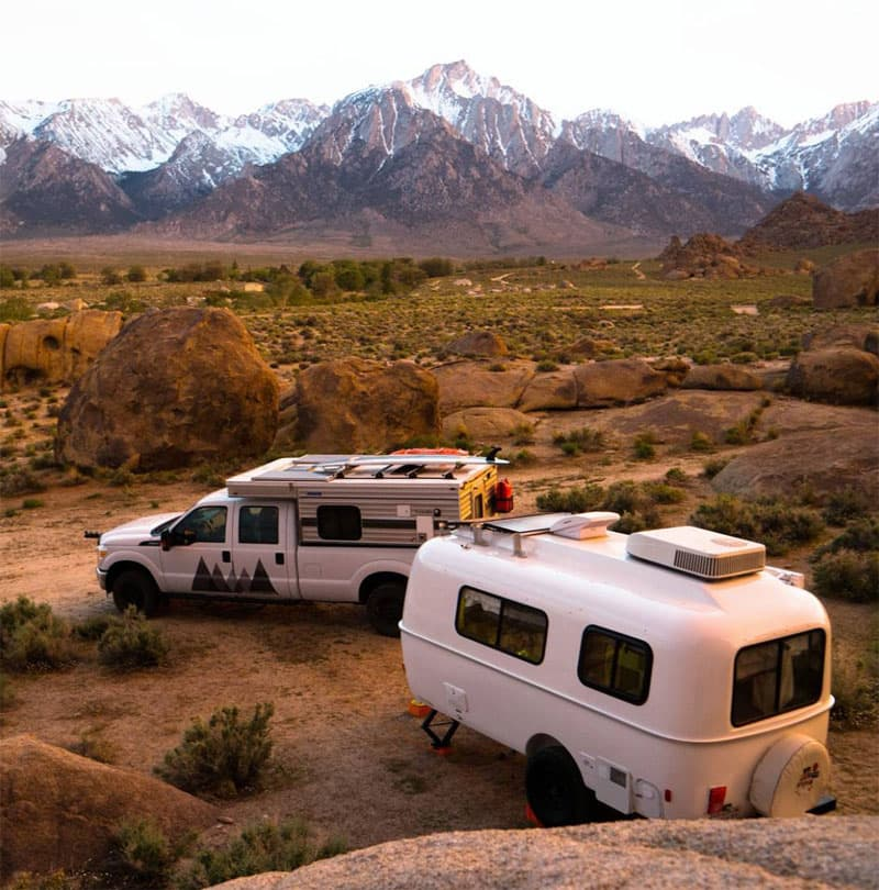 Casita Trailer and Four Wheel Camper in Lone Pine, California