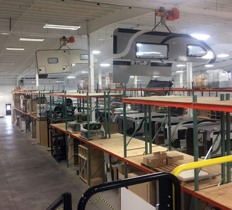 Cirrus camper sidewalls float above production line