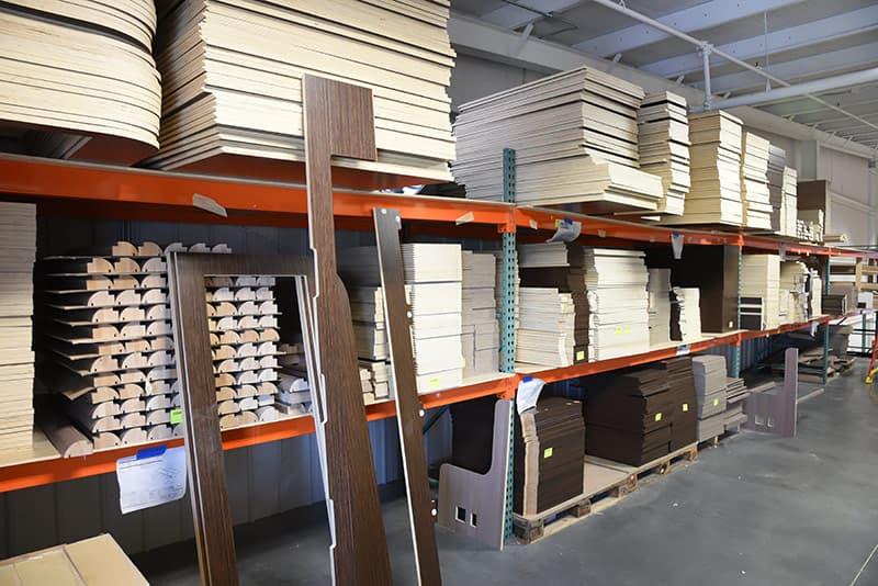 Pre cut wood flats at Cirrus factory