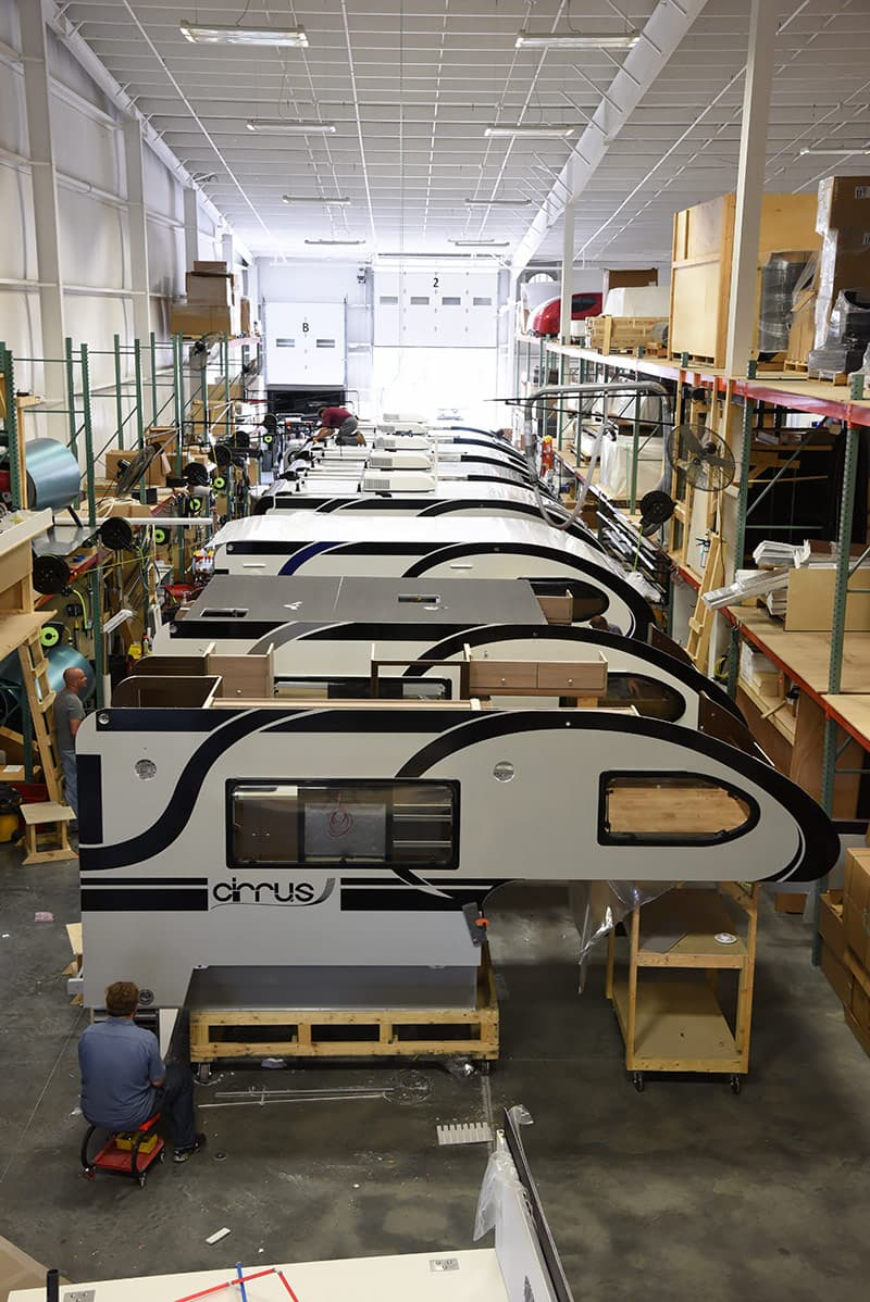 Cirrus factory truck camper production line