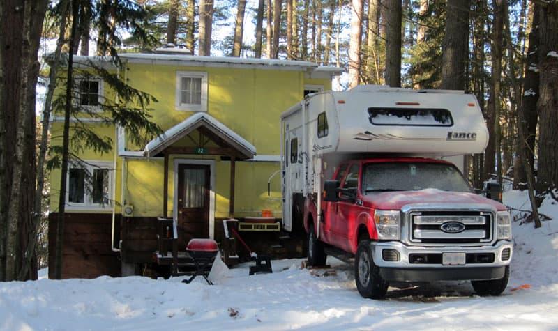 Lance Camper snow camping