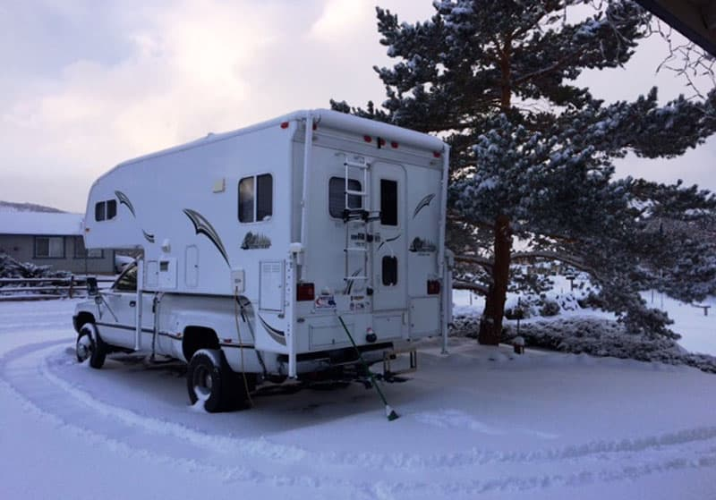 Cold-weather-camping trip in snow