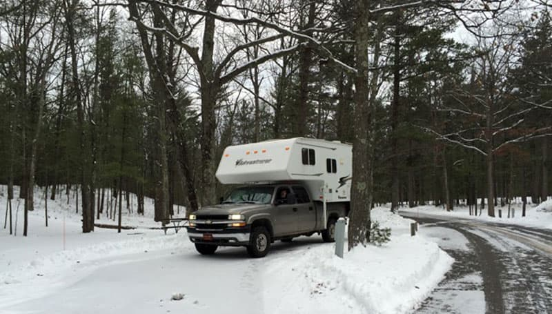 Adventurer Camper in the snow
