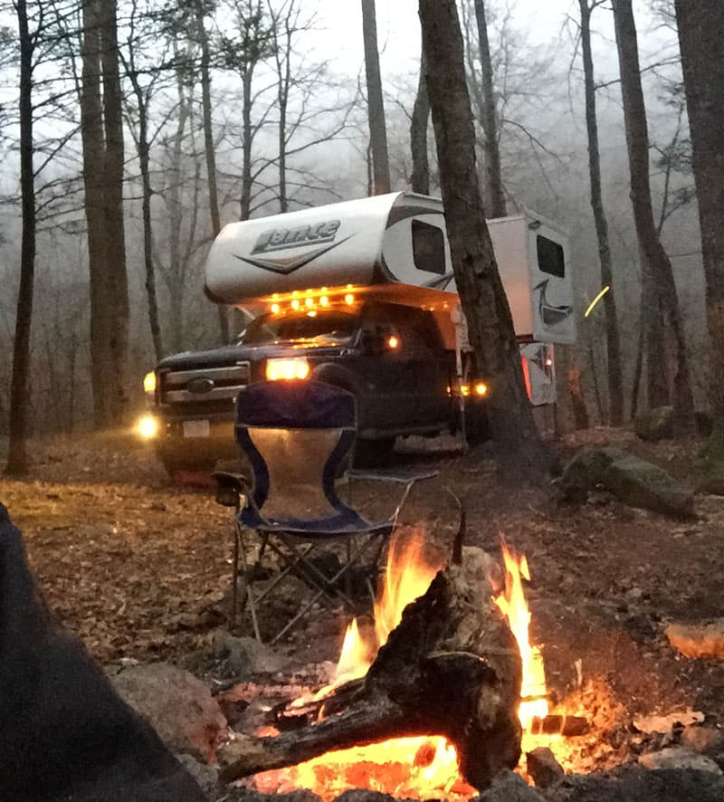 Cold-weather-camping in a Lance Camper