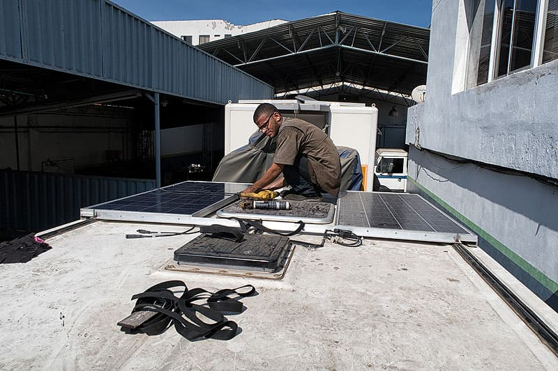 Two 150 watt solar panels installed