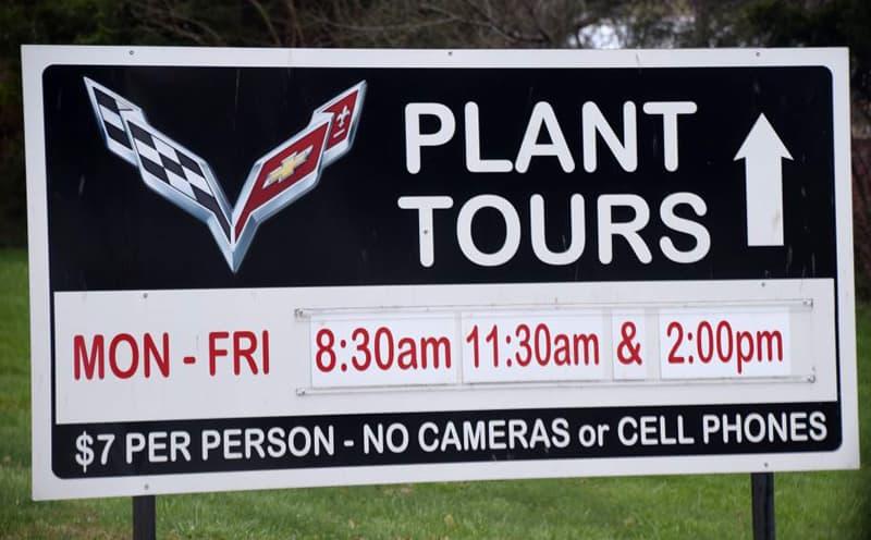 Corvette Plant Tour sign