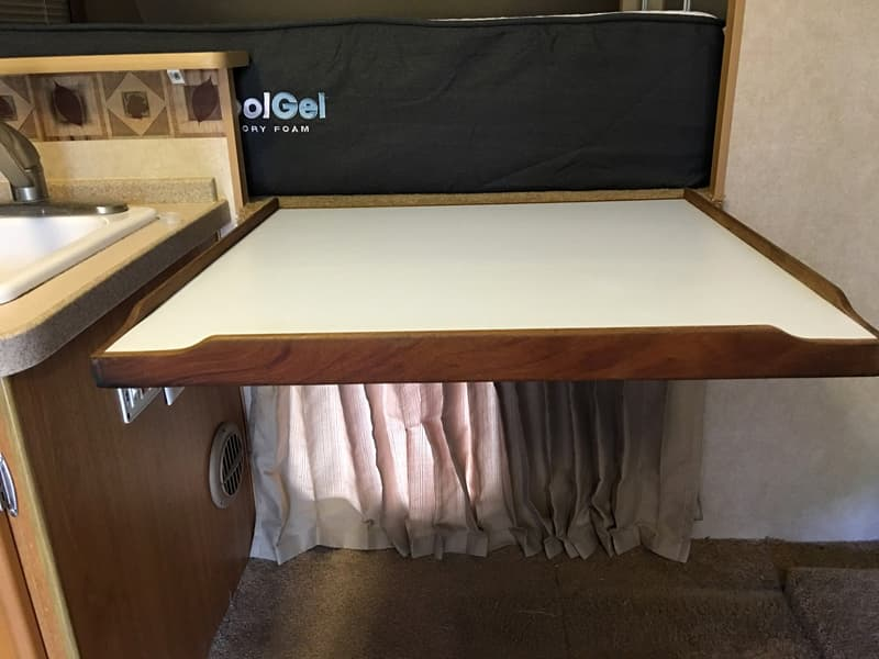 Countertop is an old boat table