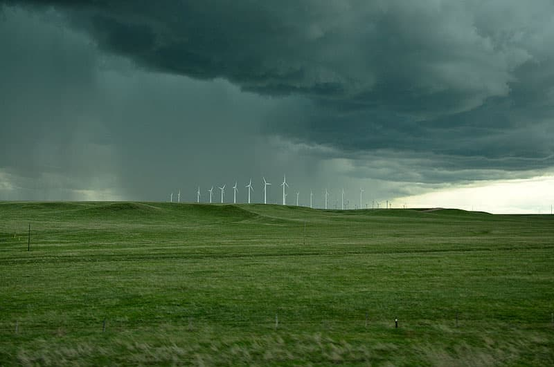 Storms rolling across Wyoming