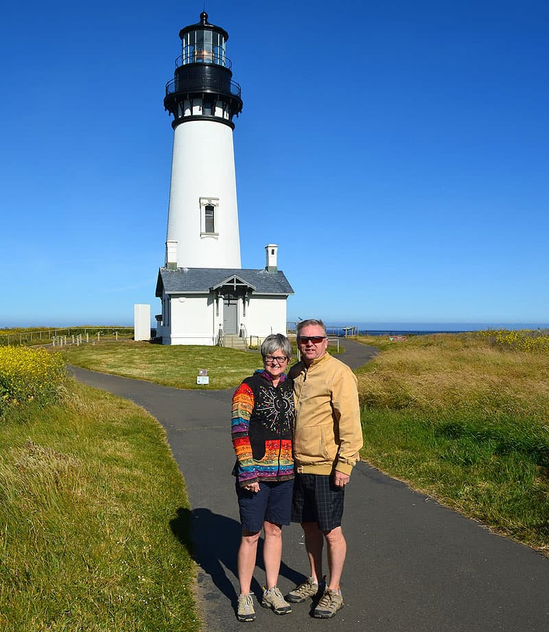 Amy and Mark at the Yaquina Lighthouse in Oregon