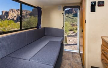 Cruise America Truck Camper Dinette into Bed