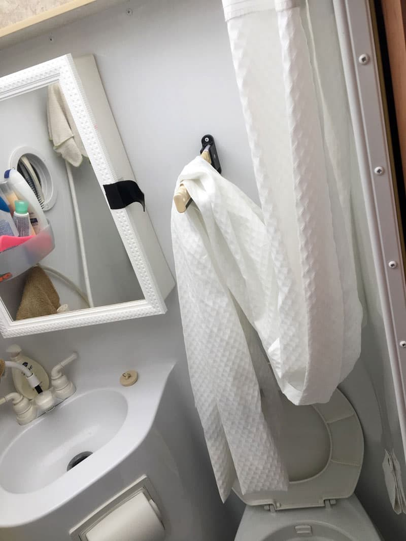 Shower curtain drip into toilet
