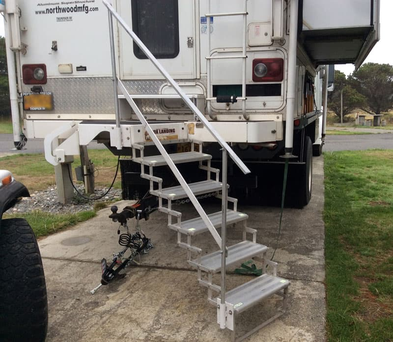 Custom rail system to get into Freightliner camper