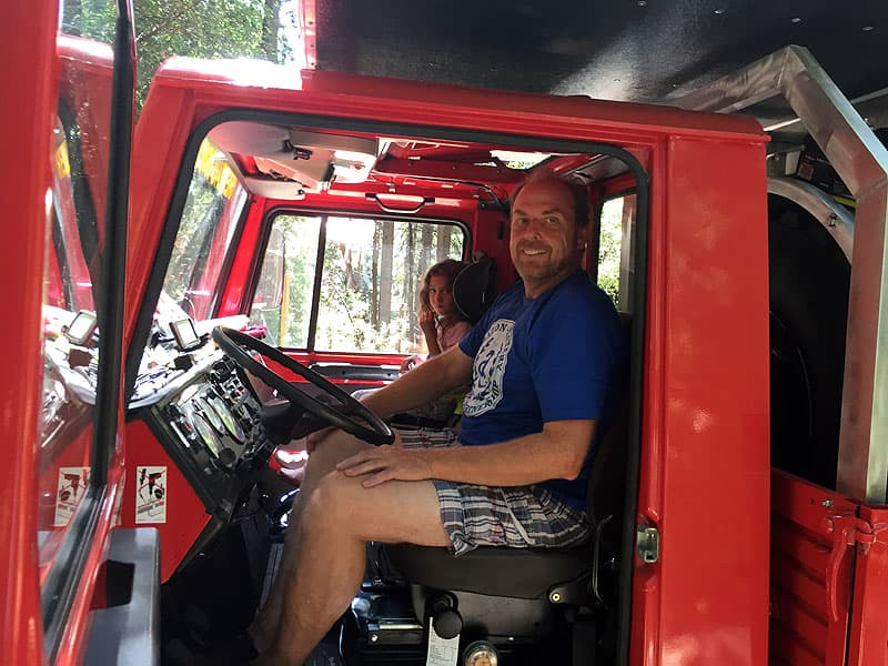 Daniel Bass and his daughter in their Unimog