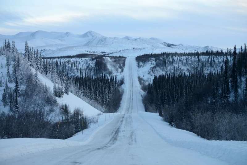 Dempster Highway driving in winter