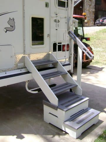 Stairs into camper