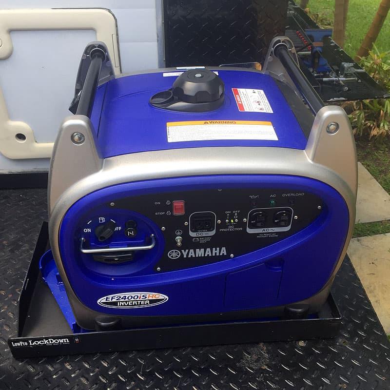 Generator storage back of camper