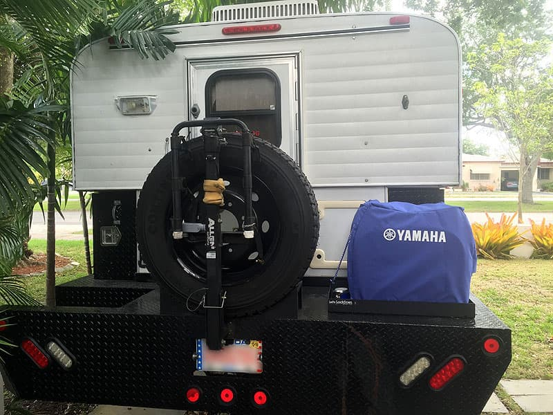 Yamaha generator on rear porch camper