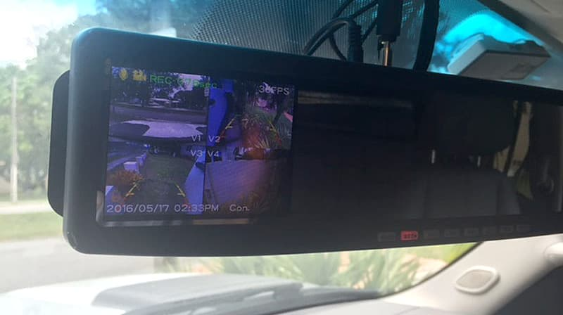 Rear view camera system in truck