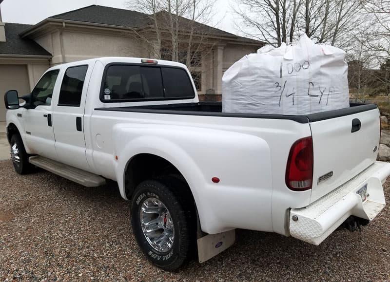 Dually Truck Hauling Mulch
