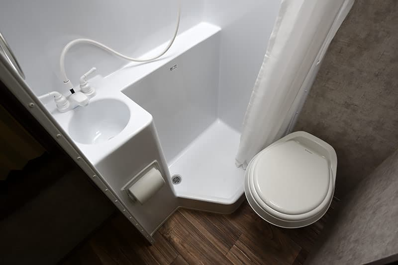 Porcelain Style ABS toilet in Eagle Cap camper