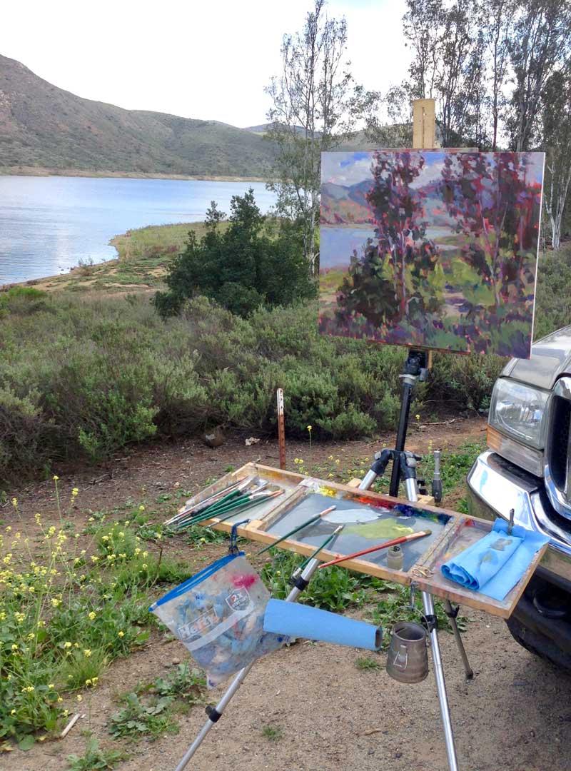 Easel Brushes Painting Road Kill California