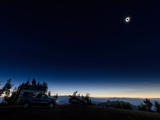 #291 - Peter MasonMalheur National Forest, near John Day, Oregon2013 Ford F1502010 Four Wheel HawkCamera Used - Nikon D810 14mm lensLooking for a suitable viewing location in the path of totality, I drove up a logging road looking to spot to boondock.  All of the first come, first serve campsites were already taken.  I stopped at the first pull-out and spent the night.  The next morning I proceeded up the road passing numerous other campers.  Fourteen miles in, the last quarter-mile required four wheel drive low.  Finally, at the summit of Vinegar Hill I was the second person to make camp.  The summit was at 8,017-feet and had a great view.  For the next four days, we waited as a few more hearty campers arrived.  Finally on August 21, 2017 at 10:23am the black sun appeared, and then the corona appeared. It was a magical two minutes.